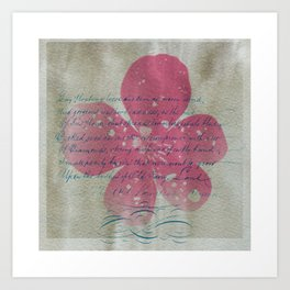 Pink flower and blue text Art Print