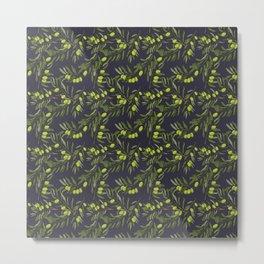 Olive Pattern Purple Metal Print