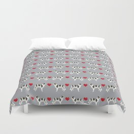 Border Collie love hearts dog breed gifts collies herding dogs pet friendly Duvet Cover