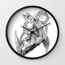 Rhino engraving Wall Clock