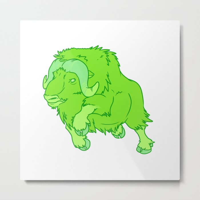 Leaping Lime Musk-Ox Metal Print