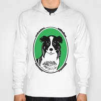 border collie Hoodies featuring Border Collie Printmaking Art by Artist Abigail