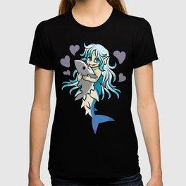 Cute Mermaid Loves Her Shark Plush T-shirt
