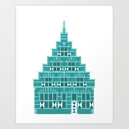 House with corbie gable in Holland blue Art Print