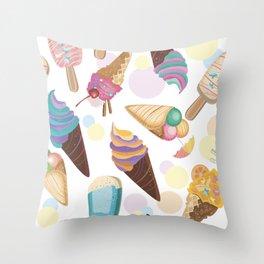 Ice Cream Everywhere Throw Pillow