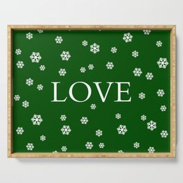 Winter Love - hunter green Serving Tray