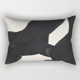 Mid Century Modern Minimalist Abstract Art Brush Strokes Black & White Ink Art Color Field Maze Rectangular Pillow