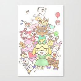 Animal Crossing mashup (white) Canvas Print