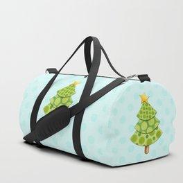 Aqua Polka Dots Christmas Duffle Bag