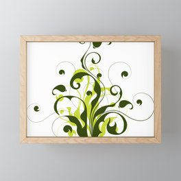 green abstract filigree Framed Mini Art Print