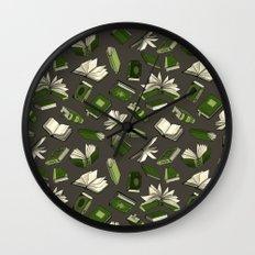 Spellbooks, green Wall Clock