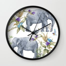 Elephants On Parade Illustration - Bagaceous Wall Clock