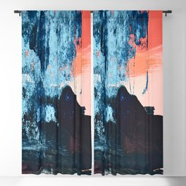 Delight: a vibrant abstract painting in blues and coral by Alyssa Hamilton Art Blackout Curtain