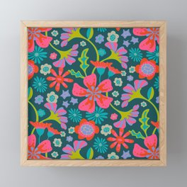 POP FLORAL Pattern Framed Mini Art Print