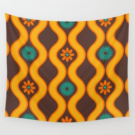 1970's Design Brown Orange Blue Wall Tapestry