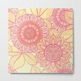 Hand Drawn Floral & Mandala 02 Metal Print