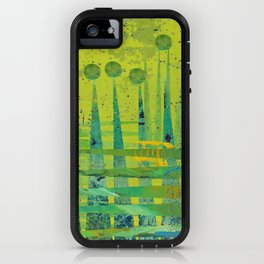 Blue Green Abstract Art Collage iPhone Case