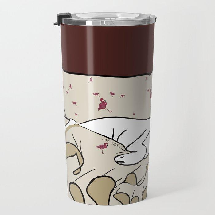 Dog In A Pile of Blankets Travel Mug