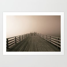 Misty dock Art Print