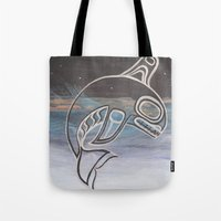 killer whale Tote Bags featuring Killer Whale  by JessaDee`Designs