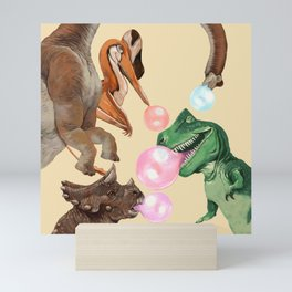 Playful Dinosaur Bubble Gum Gang Mini Art Print