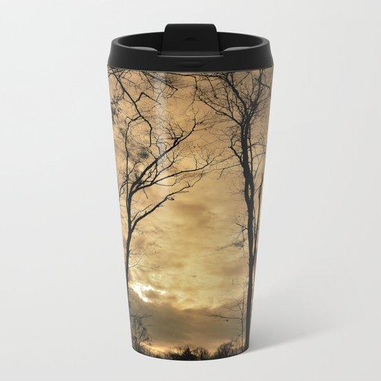 snow clouds above the wood Metal Travel Mug
