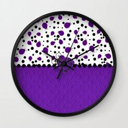 Purple Ladybugs and Purple Dots Wall Clock