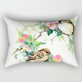 Sparrows and Apple Blossom, spring floral bird art Rectangular Pillow
