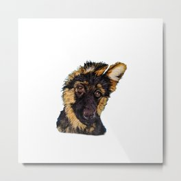 German Shepherd Puppy needle felt portrait Metal Print