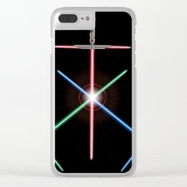 A Trio Of Light Sword Future Weapons Clear iPhone Case