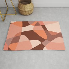 Mid Century Modern Abstract Rock Layers Salmon Pink Rug