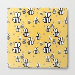 Cute baby print. Fat bees on honey orange background. Metal Print
