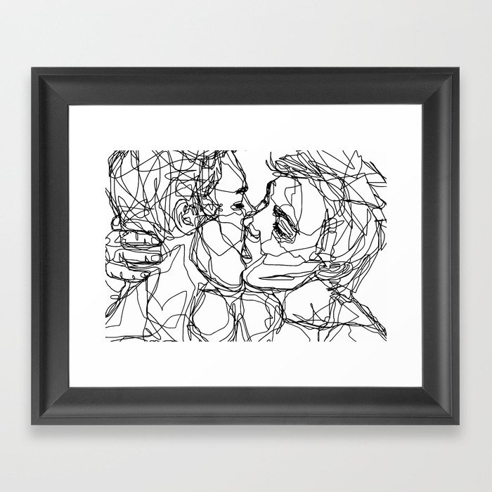 Boys kiss too Gerahmter Kunstdruck