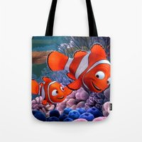 finding nemo Tote Bags featuring Nemo by Max Jones