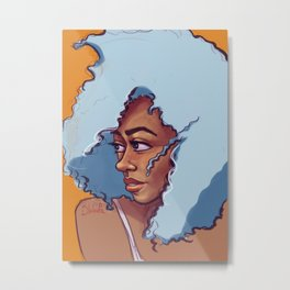 Blue Hair Bombshell Metal Print