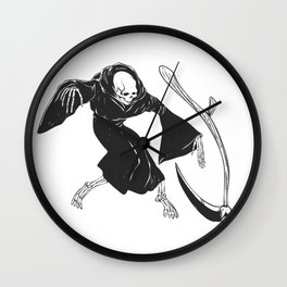Grim reaper throwing sickle - black and white Wall Clock