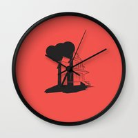 psycho Wall Clocks featuring Psycho by Michael Deeg