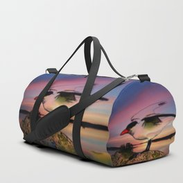 Sunset Take-off - Gull Painted with Sunset Colors Duffle Bag