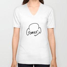 Gamer on White Unisex V-Neck