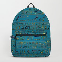 Egyptian hieroglyphs on teal leather texture Backpack