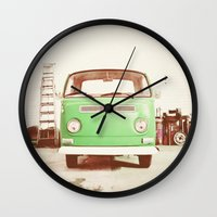 volkswagon Wall Clocks featuring Vintage Volkswagen Bus (Green Edition) by Laura Ruth