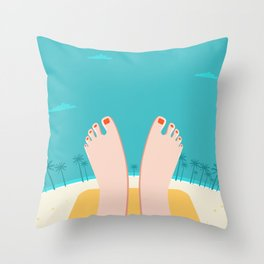 Feet on Beach Throw Pillow