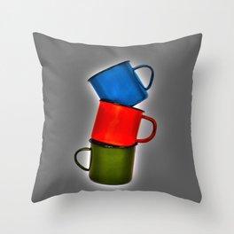 Vintage green, blue, red enamel mugs in modern look Throw Pillow