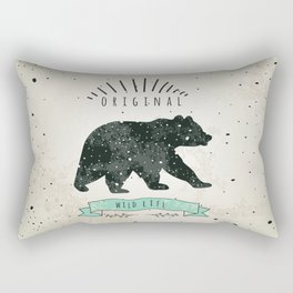Vintage label bear. Design for T-Shirt. Нandmade illustration  sketch bear. Rectangular Pillow