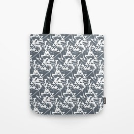 White noise lines on Volcanic Glass color ( Blue ) Tote Bag