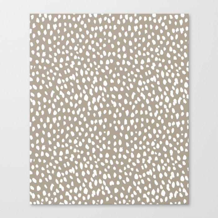 White on Dark Taupe spots Leinwanddruck