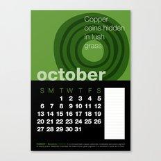 2013 Pigment to Pantone Calendar – OCTOBER Canvas Print