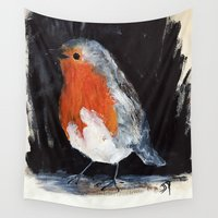 uk Wall Tapestries featuring Robin Wild UK Garden Bird Acrylics On Paper by James Peart