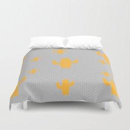 Mustard Cactus White Poka Dots in Gray Background Pattern Duvet Cover