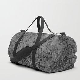 Elegant Black Grunge Damask Duffle Bag